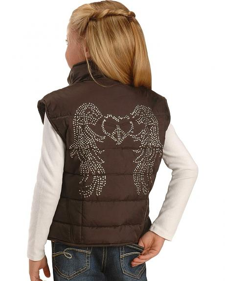 Red Ranch Girls' Brown Quilted Peace & Wings Vest - 5-16