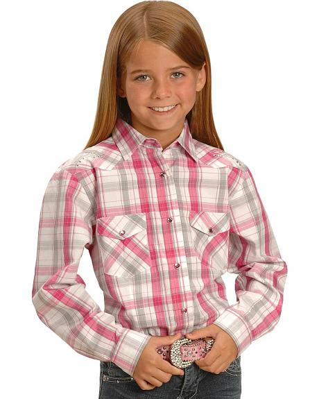 Red Ranch Girls' Pink & Grey Plaid Western Shirt - 7-16
