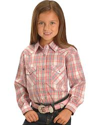 Red Ranch Girls' Pink Plaid Lurex Western Shirt at Sheplers