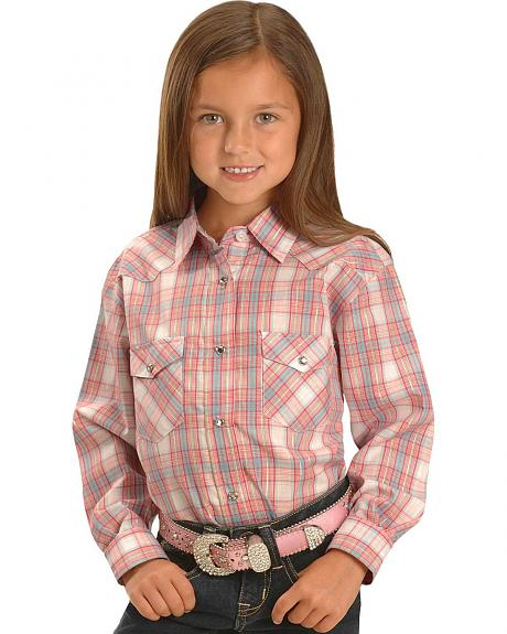 Red Ranch Girls' Pink Plaid Lurex Western Shirt - 5-16