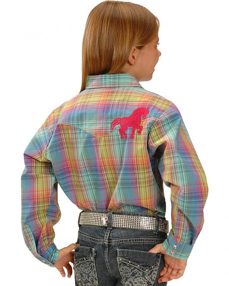 Red Ranch Girls' Pink Horse Embroidered Plaid Western Shirt - 5-16