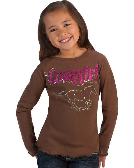 Red Ranch Girls' Cowgirls and Horse Rhinestone Tee - 5-16