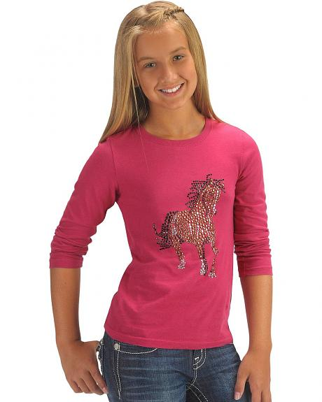 Red Ranch Girls' Rhinestone Horse Tee - 5-16