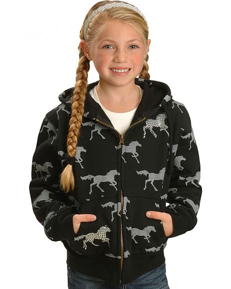 Cowgirl Hardware Girls' Black & Grey Horse Hoodie - 5-16