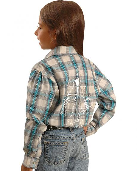 Wrangler Girls' Metallic Cross on Back Plaid Western Shirt - 4-16