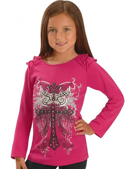 Wrangler Rock 47 Girls' Embellished Cross & Wings Tee - 5-16