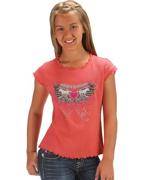 Cowgirl Hardware Girls' Coral Horses & Wings Ruffle Tee - 5-16