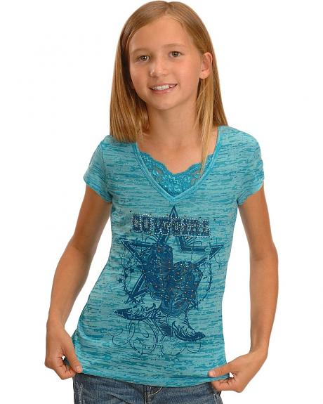 Girls' Cowgirl Bedecked Boots & Barbed Wire Burnout Tee - 5-16
