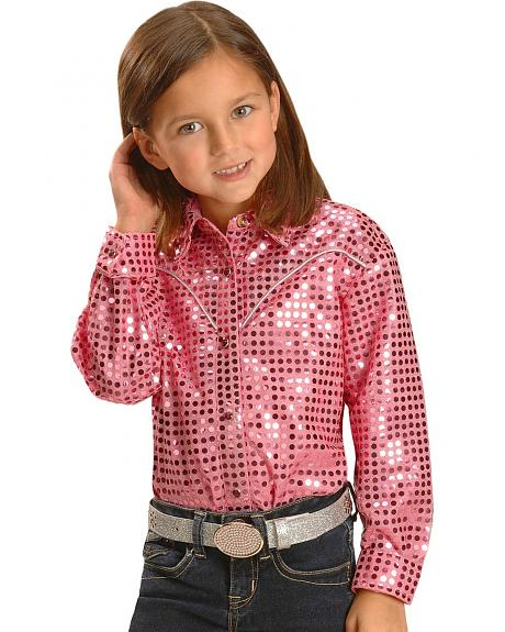 Red Ranch Girls' Metallic Dots Western Shirt