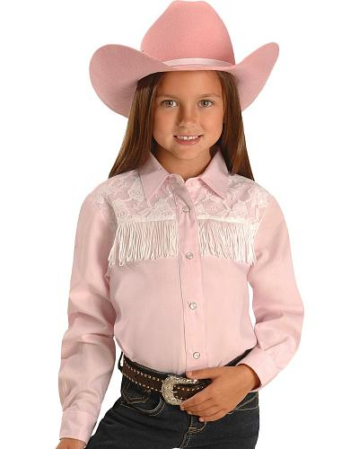 Red Ranch Girls Lace Yoke & Fringe Western Shirt 5-16 Western & Country KK-LAC-1 PINK