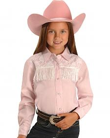 Red Ranch Girls' Lace Yoke & Fringe Western Shirt - 5-16