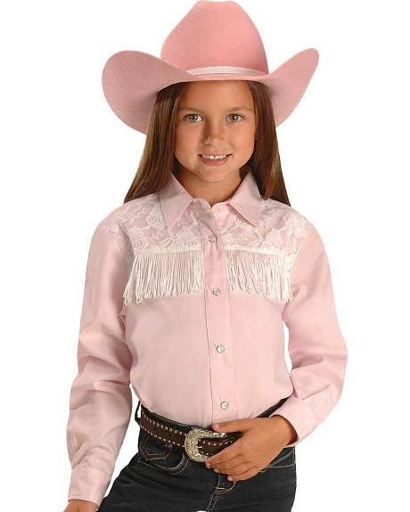 Red Ranch Girls' Lace Yoke & Fringe Western Shirt - 5-16