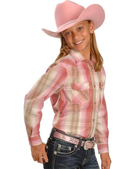 Red Ranch Girls' Pink Ombre Plaid Western Shirt - 5-16