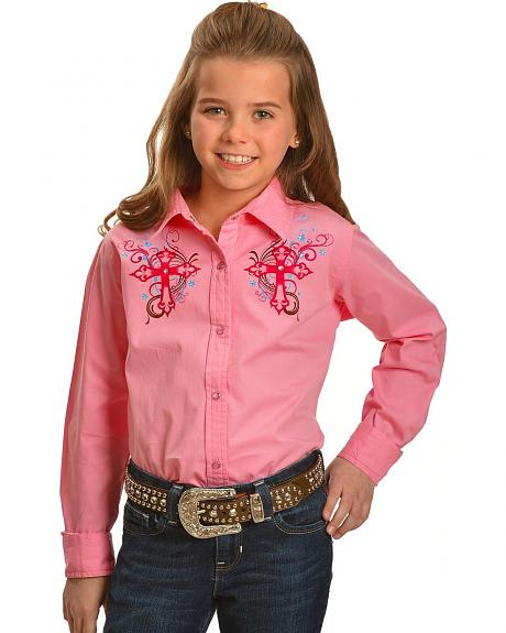 Cumberland Outfitters Girls' Rhinestone & Crosses Pink Long Sleeve Shirt - 4-16
