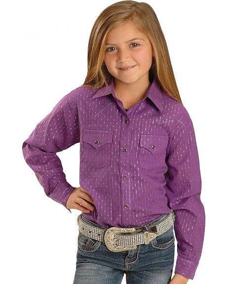 Wrangler Girls' Purple & Silver Western Shirt - 5-16