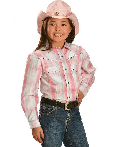 Red Ranch Girls' Plaid Whipstitch Yoke Long Sleeve Shirt - 4-16