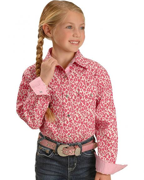 Red Ranch Girls' Pink Cheetah Print Western Shirt - 5-16