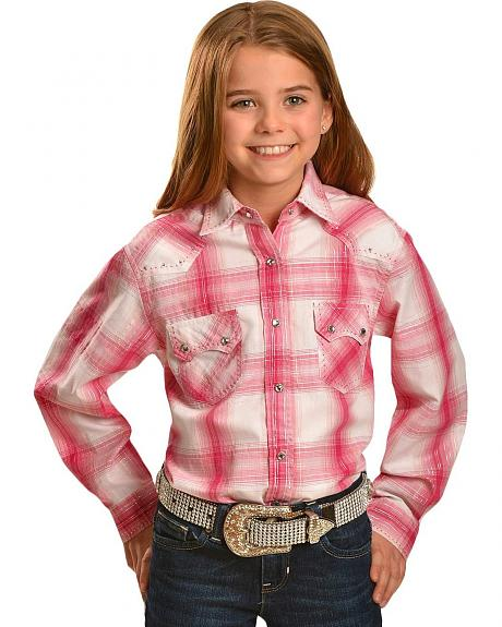 Girls' Red Ranch Pink Ombre Plaid Long Sleeve Shirt - 5-16