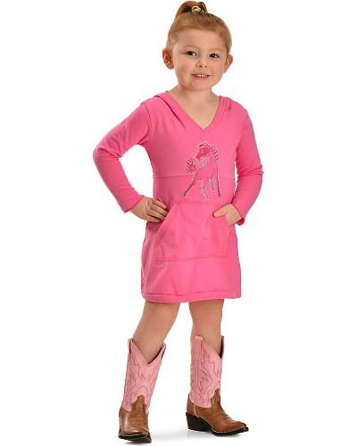 Girls Red Ranch Rhinestone Horse Knit Hooded Dress 7-16 Western & Country KT-61-L/S