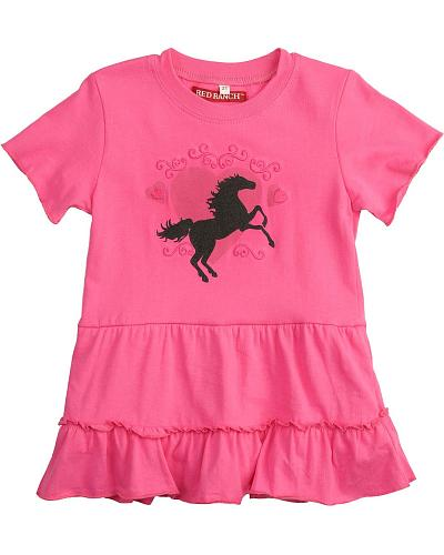 Red Ranch Toddler Girls Horse & Heart Bodysuit with Ruffled Skirt 2T-4T Western & Country KKTD-48