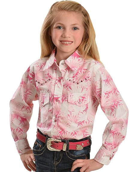 Cowgirl Hardware Girls' Pink Floral with Rhinestones Long Sleeve Top - 4-16