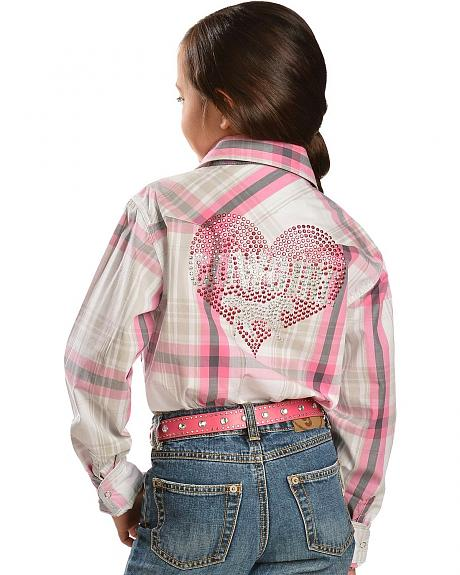 Girls' Metallic Rhinestud Heart & Horse Long Sleeve Top