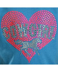 Cowgirl Hardware Neon Pink Rhinestone Heart with Horse Tee - 4-16 at Sheplers