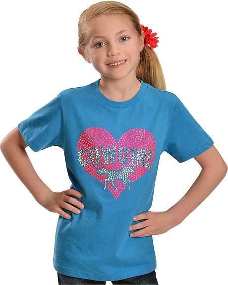 Cowgirl Hardware Girls' Neon Pink Rhinestone Heart with Horse Tee - 4-16