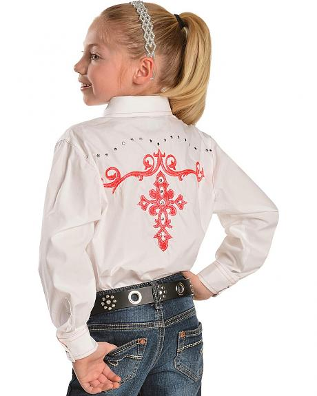 Wrangler Rock 47 Girls' Neon Pink Embroidered Long Sleeve Western Top - 5-16