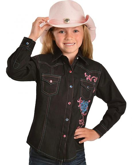 Wrangler Rock 47 Blue & Pink Embroidered Black Western Top - 5-16