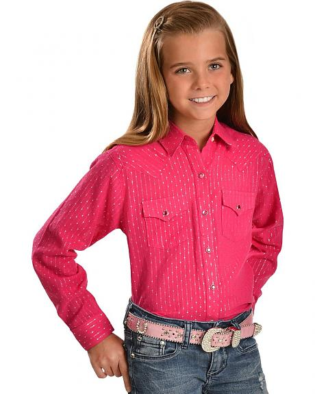 Wrangler Girls' Metallic Pink Western Top - 5-16