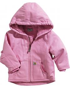 Carhartt Toddlers Girls' Pink Sherpa Lined Duck Active Jacket - 2T-4T