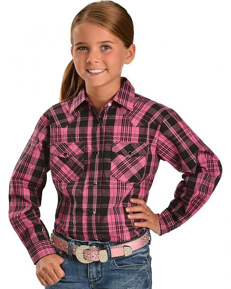 Red Ranch Plaid with Metallic Stitching & Back Horse Embroidery Top - 5-16