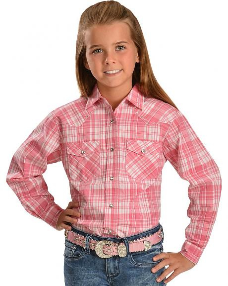 Red Ranch Plaid with Metallic Stitching & Rhinestones Top - 5-16