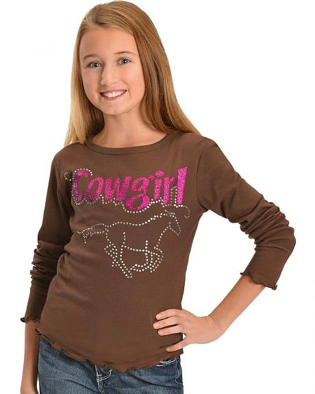 Girls' Red Ranch Rhinestone & Glitter Horse Tee - 5-16