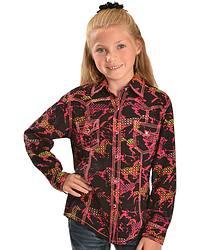 Girls' Horse Print Rayon Western Shirt - 5-16 at Sheplers