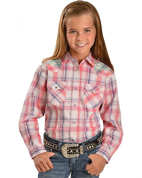 Red Ranch Girls' Embroidered Rhinestone Yokes Western Shirt - 5-16