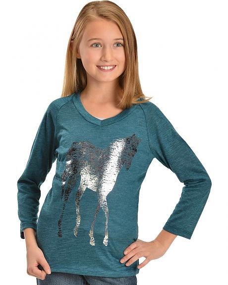 Girls' Teal Metallic Horse Tee - 5-16