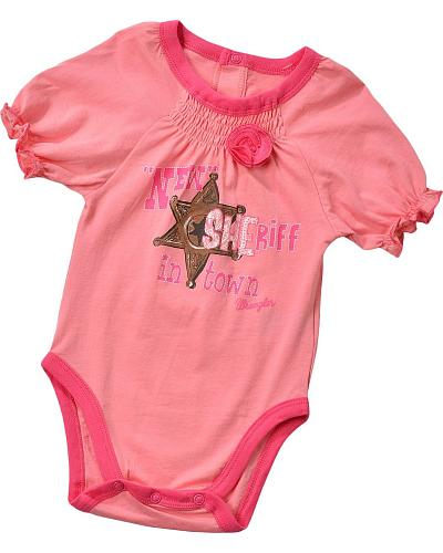 "Wrangler Infant Girls ""New Sheriff In Town"" Bodysuit 6M-18M Western & Country PQK142K"