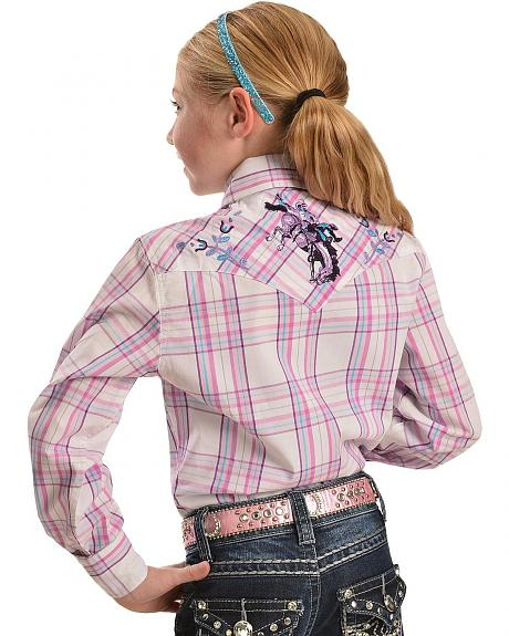 Cowgirl Hardware Girls' Bucking Bronco Embroidery Plaid Western Shirt - 5-16