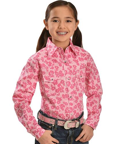 Red Ranch Girls Pink Floral Print Western Shirt 6-16 Western & Country 425207-150