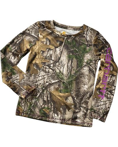 Girls Carhartt Force Long Sleeve Camo Top Western & Country CA9292-CR01