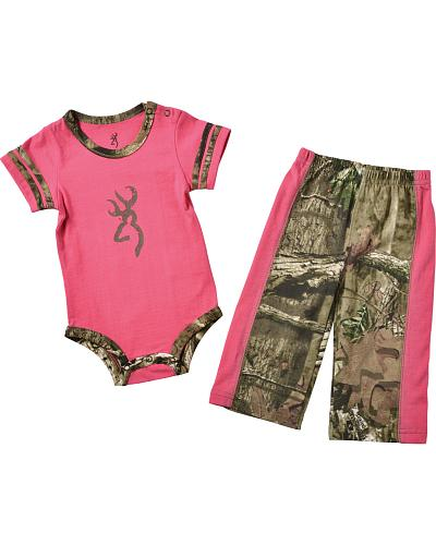 Browning Infant Camo and Pink Pant Suit Western & Country BRB0008-420