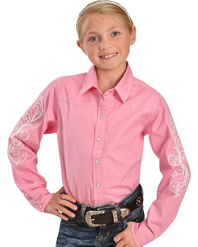 Cumberland Outfitters Girls Embroidered Pink Western Shirt Western & Country 33524107-63
