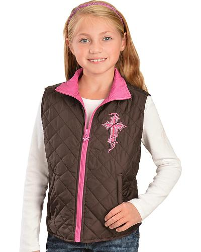 Red Ranch Girls Cross Applique Quilted Vest Western & Country 486079R-660