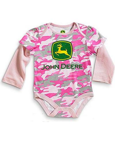 John Deere Logo Infant Girls Long Sleeve Pink Camo Onesie 3-12 Mos. Western & Country JFGT005J2N1