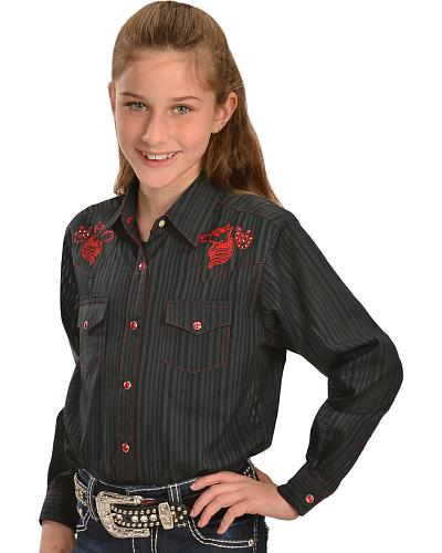 Wrangler Girls Embroidered Striped Long Sleeve Western Shirt Western & Country GW8751X