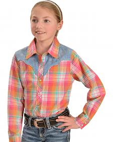 Cumberland Outfitters Girls' Pink Plaid Chambray Yoke Shirt