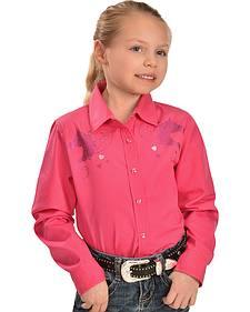 Cumberland Outfitters Girls' Fuchsia Glitter Horse Long Sleeve Shirt
