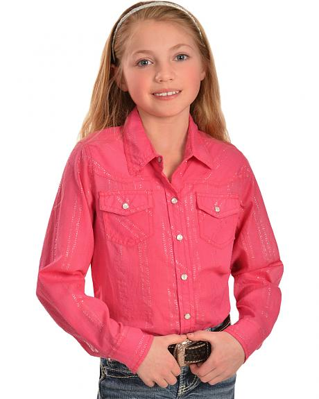 Cumberland Outfitters Girls' Fuchsia and Silver Lurex Shirt